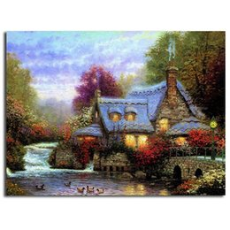 $enCountryForm.capitalKeyWord Canada - Thomas Kinkade The Miller's Cottage Handpainted & HD Print Landscape Art Oil Painting on Canvas office Wall art culture Multi Sizes l183