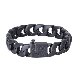 $enCountryForm.capitalKeyWord UK - 15mm Stainless Steel Mens Curb Cuban Bracelets Cool Biker Bicycle Chain Male Jewelry Punk Black Plated Skull Bracelet Men Armband