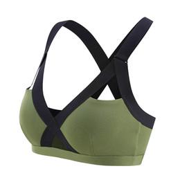 SportS bra tank online shopping - Oyoo V neck Sexy Army Green High Impact Sports Bra Wide Shoulder Straps Pink Workout Yoga Bra Top Contrast Gym Tank Tops