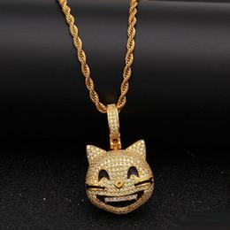 $enCountryForm.capitalKeyWord Australia - Iced Out Custom Happy Cat Face Pendant Necklace Bling Bling Cubic Zircon Men's Hip hop Jewelry