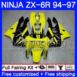 Zx6r frame online shopping - Body For KAWASAKI NINJA ZX CC ZX6R HM ZX600 ZX636 ZX R ZX R yellow black frame Fairings