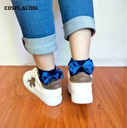 Discount cute butterfly glitter - [COSPLACOOL]7 Colors,Bow Tie Harajuku Cute Socks Glitter Mesh Silk Ribbon Butterfly Sexy Hot Meias Shiny Crystal Glass E