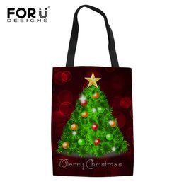 $enCountryForm.capitalKeyWord Australia - FORUDESIGNS Large Lady Shopper Totes Women Girls Best Xmas Gifts Shopping Bags Christmas Tree Pattern Bags For Vegetables Fruits