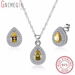 Best Wedding Pendant Australia - GNIMEGIL 925 Silver Jewelry Yellow Cubic Zirconia Jewelry Set Wedding Party Best Gift For Women Earrings Pendant Necklace Chain