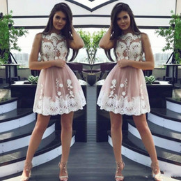 Junior models online shopping - Elegant Pink Lace Short Homecoming Dresses for Juniors Tulle Plus Size Applique Short Prom Dress Party Ball Gowns Graduation Club Wear Cheap