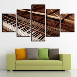 $enCountryForm.capitalKeyWord NZ - Frame HD Prints 5 Pieces Black And White Piano Keys Paintings Wall Art Canvas Pictures Modular Poster Home Decor For Living Room
