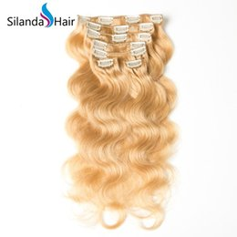 Clip Human Hair Extensions Remy 24 UK - Silanda Hair Best Sale Remy Hair Extension Clip In Human Hair Extensions #27 Body Wave 7Pcs pack Free Shipping