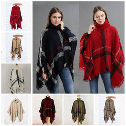 Discount cardigan scarf fashion - Plaid Poncho Scarf Tassel Fashion Wraps Women Vintage Knit Scarves Tartan Winter Cape Grid Shawl Cardigan Blankets Cloak