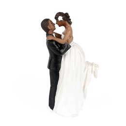 Wholesale Wedding Anniversary Cake Toppers Couple Happy Bride and Groom African American Romance Wedding Party Cake Decoration High Quality