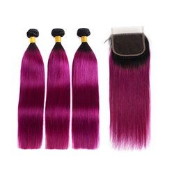 two toned purple hair weave 2020 - T1b Purple Ombre Brazilian Virgin Hair Bundles With Lace Closure Cheap Two Tone Straight Human Hair Weaves And Closure P