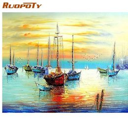 $enCountryForm.capitalKeyWord Australia - RUOPOTY Sailing Boat Seascape DIY Painting By Numbers Kits Acrylic Paint On Canvas Abstract Modern Wall Art Picture Home Decor