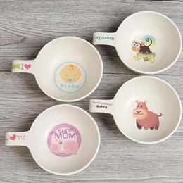 Infant Feeding Bowls NZ - Natural Bamboo Fiber Bowls Cute Cartoon Dishes Baby Feeding Tableware Children Infant Portable Bowl Free Shipping QW8888