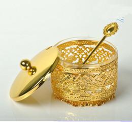 Glasses Storage Australia - Classic golden kitchen round Spice jar Brief glass sugar Beautiful Storage bottles