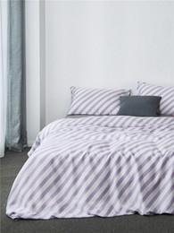 Light Green Comforters Canada - comforter bedding sets simple stripe duvet cover bed sheet coon tencel housse de couee flowers princess drap de lit