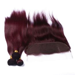 Venta al por mayor de Ofertas de paquetes de cabello humano rojo vino con cierre frontal recto # 99J Borgoña 13x4 Oreja a oreja Cierre de encaje frontal con cabello virgen 3 paquetes