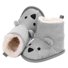 toddler snow shoes 2019 - Baby Winter Knitted Boots Infant Toddler Cute Cartoon Bear Plush Warm Shoes Girls Boys Snow Booties discount toddler sno