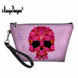 Watermelon Cosmetic Bags Cases Australia - NOISYDESIGNS Makeup Bag Skull Travel Cosmetic Bag for Girls Toiletry PU Leather Makeup Pouch Professional Case Zipper