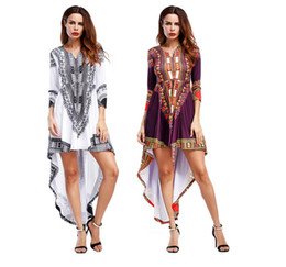 12382ff3bf41 amazon sexy 2019 - Amazon 2018 New Women s Dress Bohemia Print Fish Tail  Dress Anterior Short