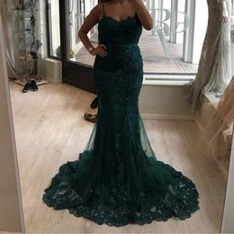 $enCountryForm.capitalKeyWord NZ - Mermaid Prom Evening Dresses Spaghetti Sweep Train Tulle Lace Applique Beads Belt Formal Party Pageant Maid Of Honor Dress Evening Gowns