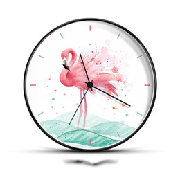 sky quartz watch UK - 8 12 Inch Pastoral Style Wall Clock Ins Flamingos Pattern Needle Quartz Mute Metal Circle Watch Clocks Bedroom Wall Decoration