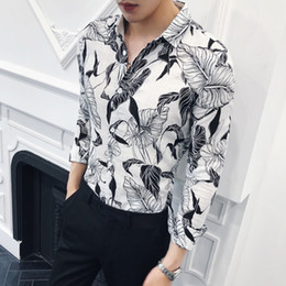 british clothing for men 2019 - High Quality Men Shirt British Style Slim Fit Social Shirts For Men Clothes 2018 Long Sleeve Print Casual Night Club Pro