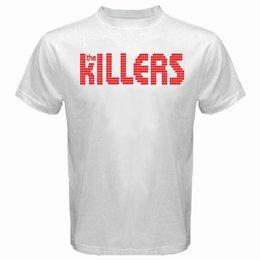 Novidade Design Homens Novo The Killers Logotipo Banda de Rock Alternativa dos homens T-Shirt Branco Tamanho S para 3XL Impressão de Verão Tops Tees em Promoção