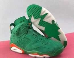 6 S Gatorade зеленый замша баскетбольная обувь кроссовки мужчины женщины дети зеленый замша баскетбольная обувь аутентичные качества с оригинальной коробке