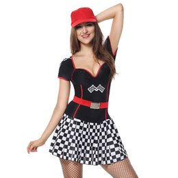 Discount police woman costume shorts - Halloween Cosplay Costume Women Sexy DS Female Singer Suit Car Model Policewoman Grid Mini DresS Tight Skirt Red Hat Bel