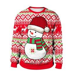 Ingrosso Red Merry Christmas Pupazzo di neve Felpe Fashion Long Sleeve Streetwear Happy New Year Xmas Hoodies Inverno Santa T-shirt