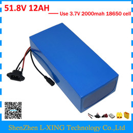 Free customs duty 500W 750W 51.8V 12AH lithium battery 52V 12AH Electric bicycle battery 52V ebike battery with 2A Charger
