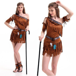 4e6c261f49 Ladies Women Native American Indian Wild West Fancy Dress Party Costume  indian costume indigenous primitive performance suit sexy