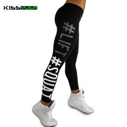 white girls yoga pants 2019 - KISSyuer Elasticity Print Letter Female Tights Yoga Leggings Girls Fitness Sportswear Yoga Pants Gym Women Running leggi