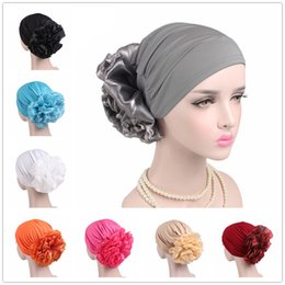 8d764760db808 Women Stretch Solid Flower Elastic Turban Hat Chemo Beanie Head Scarf Wrap  Cap Headwear For Cancer Patient Hair Loss Accessories