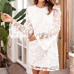 elegante kleider damen 2018 Women Ladies Lace Casual T-Shirt Long Sleevel Dress  Paty Dress 53274a74e3a2