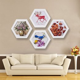 Family Frames Canada - Free Shipping Fashion Hexagon Photo Frame Wedding Picture Frame Wall Mounted Home Family Art Picture Holder Home Decoration