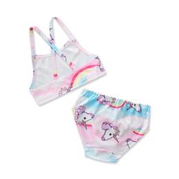 2898dbdb5 traje de baño de la niña 2018 verano nueva ropa de baño para niños dibujos  animados de unicornio niñas lindas trajes de baño de dos piezas