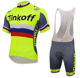 jersey cycling saxo green 2018 - 2018 Discount Tinkoff Saxo Cycling Jerseys Set Short Sleeve With Padded Bib None Bib Trousers Bicycle Clothes Close Fitt