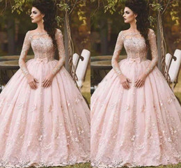 $enCountryForm.capitalKeyWord NZ - Blush Long Sleeve Prom Dresses Ball Gown Lace Appliqued Bow Sheer Neck 2019 Vintage Sweet 16 Girls Debutantes Quinceanera Dress Evening Gown
