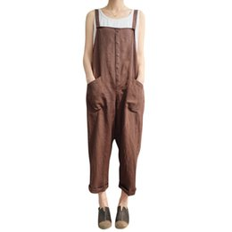 Brown Jumpsuits Women NZ - Hot Fashion Women Girls Loose Solid Jumpsuit Strap Dungaree Harem Trousers Ladies Overall Pants Casual Playsuits Plus Size 5XL