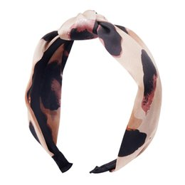 hair for twists 2018 - Velvet Leopard Wide Hairband Twist Knotted Chiffon Print for Women Girls Boutique Headband Hair Accessories cheap hair f