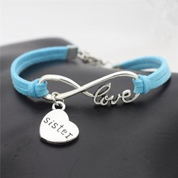 $enCountryForm.capitalKeyWord Australia - Ancient Silver Punk Blue Leather Suede Infinity Love Mom Sister Daughter Cuff Bracelet for Women DIY Charm Bangles Men Pulseira Jewelry Gift