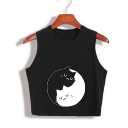 Discount anime cat t shirt - Hot Summer Japanese Anime YIN YANG CAT Tank Tops Cute Funny Girls Fashion Cropped Crop Tops camisoles for women Cropped