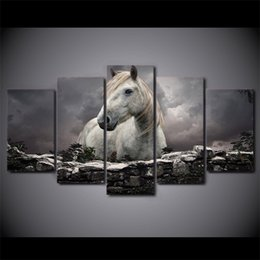 $enCountryForm.capitalKeyWord NZ - 5 Pcs Set Framed HD Printed Animals White Horse Wall Art Canvas Print Poster Canvas Pictures Abstract Oil Painting