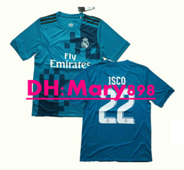 3c6374c42fd Top Thai quality 17 18 Real Madrid soccer jersey 2017 2018 blue ISCO 22 3rd  football shirt Size S