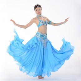 Gold Belly Dance Australia - Stage Performance Oriental Belly Dancing Clothes 3-piece Suit Bead Bra&belt & Skirt Belly Dance Costume Set 32-34b c 36b c 38b c