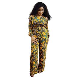 d17113ef514 Sexy Rompers Women Jumpsuit Floral Print Cold Shoulder Long Sleeve Wide Leg Pants  Plus Size Playsuit Dashiki Ladies Clothes 2018