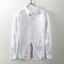 20d0eb351c2 2018 осень новый с длинными рукавами льняная рубашка мужчины повседневная  ретро лен квадратный воротник белая рубашка мужская большой размер рубашки  мужской ...