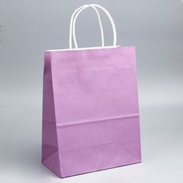 c3fdb36dddf recycled medium size purple promotional paper bags with custom logo  printing kraft paper clothing boutique shopping tote bag