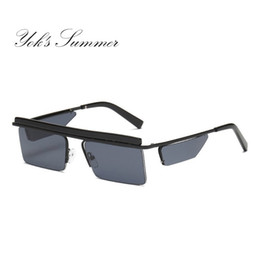 1d478caffad Yok s Small Rectangle Rimless Sunglasses Flat Top Mirror Lens Steampunk  Glasses Retro Black Gray Lens Super Star Eyewear Europe UN1006
