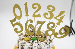 Discount number cakes cupcakes 10pcs (0-9) Gold Silver Glitter Numbers Personalized Cake Topper Kit Wedding Birthday Cupcake Party Decorations